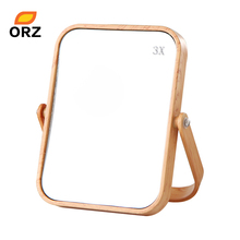 ORZ Desktop Oblong Plastic Makeup Mirror Two-sided Wood Grain Color Decorative Bathroom Cosmetic Mirror