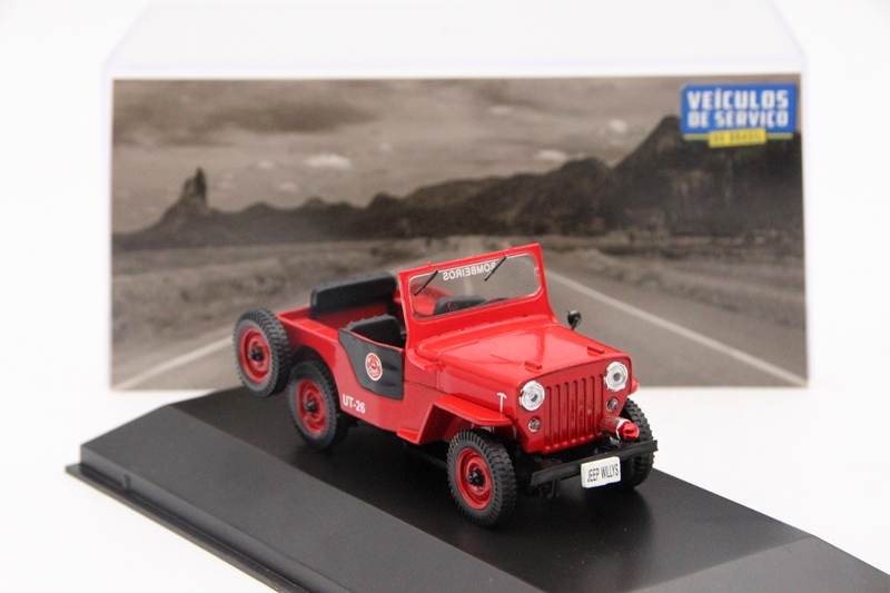 IXO Altaya 1:43 For Jeep Willys Corpo De Bombeiros Auto Diecast Models Toys Car Collection Miniature Red