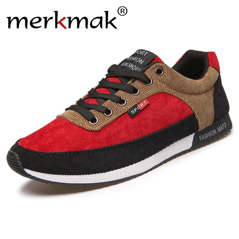 Merkmak Red Shoes Men Suede Causal Shoes Men Sport Fashion Man Casual Breathable Jogging Walking Mens