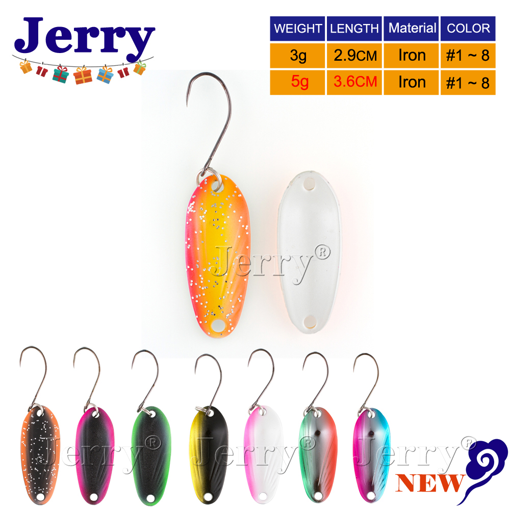 Jerry 3g 5g high quality fishing spoons single hook trout spoons area trout fishing lures two side color hard lures 85mm 33 meters 0 08mm single side high