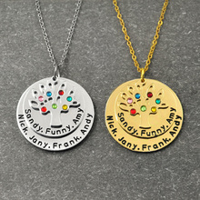 Personalized Family Tree Pendant Necklace with Birthstones,Customized Name Necklace,Gift