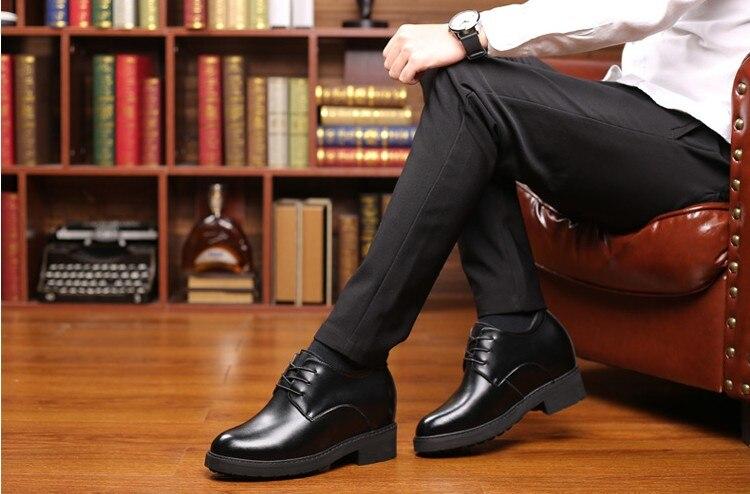 12 cm Extra di Alta Scarpe Ascensore Uomini Scarpe Ascensore Altezza Crescente Casual In Crosta di Cuoio delle Scarpe Da Lavoro Tacco a Zeppa Nascosta Da Sposa di Sesso Maschile scarpe - 4