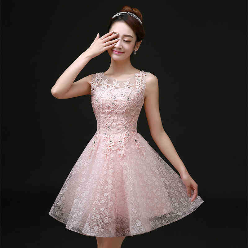 Lovely Sweet Cocktail Dresses Bride Married Banquet Pink Lace Short ...