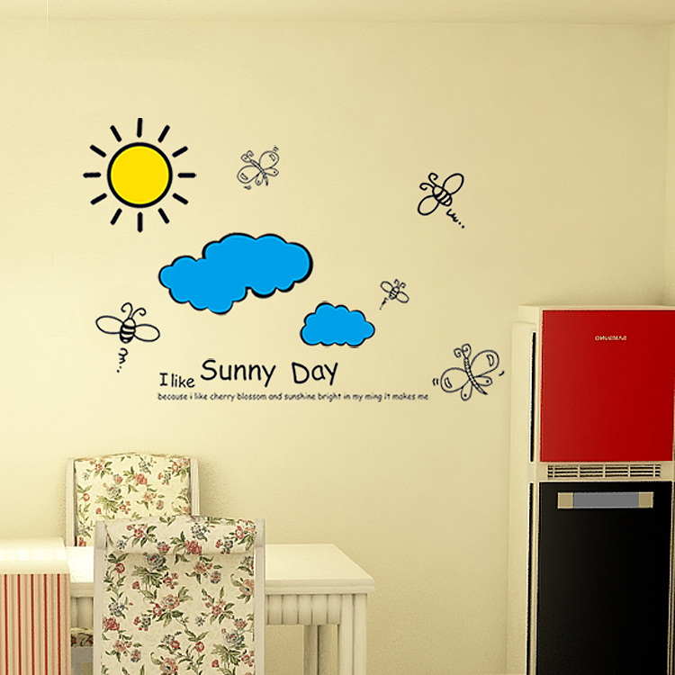 Sun Blue Sky Clouds Wall Sticker Cartoon for Kids Rooms Wall Decor ...