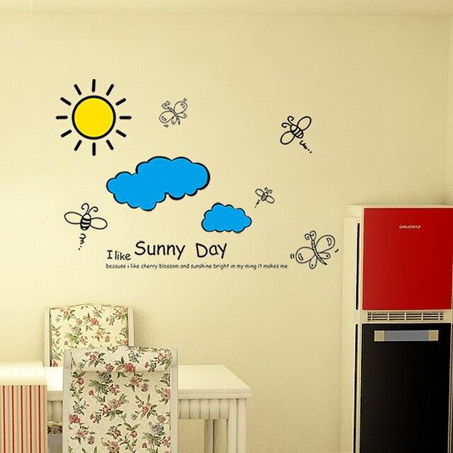 Sun Blue Sky Clouds Wall Sticker Cartoon for Kids Rooms Wall Decor ...