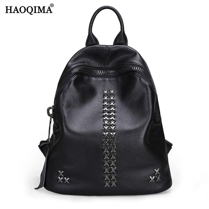 HAOQIMA Genuine Leather Fashion Brand 2017 Real Cowhide Women Backpack Girl School Bag