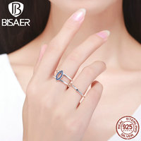 Genuine 925 Sterling Silver Blue Wicked Eye Finger Rings Women Fashion S925 Wedding Jewelry Lucky Christmas