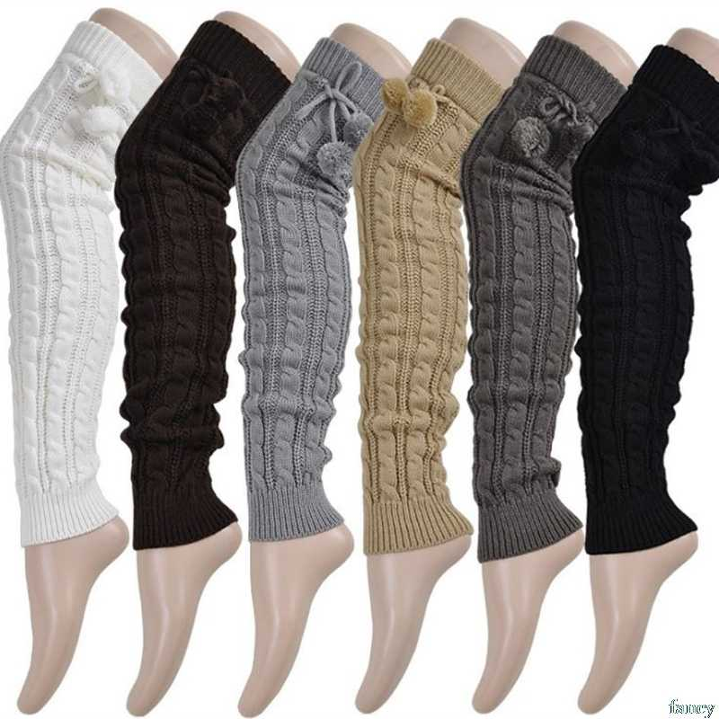56d982ac95978 Knitted Women Winter Leg Warmers Knee High Thigh High Tie Cable knitted Long  Boot Socks Ladies