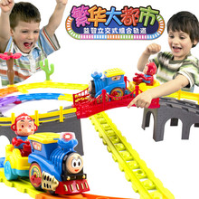 In Stock Children s toy big fancy electric rail cars light music toy Thomas splicing toy