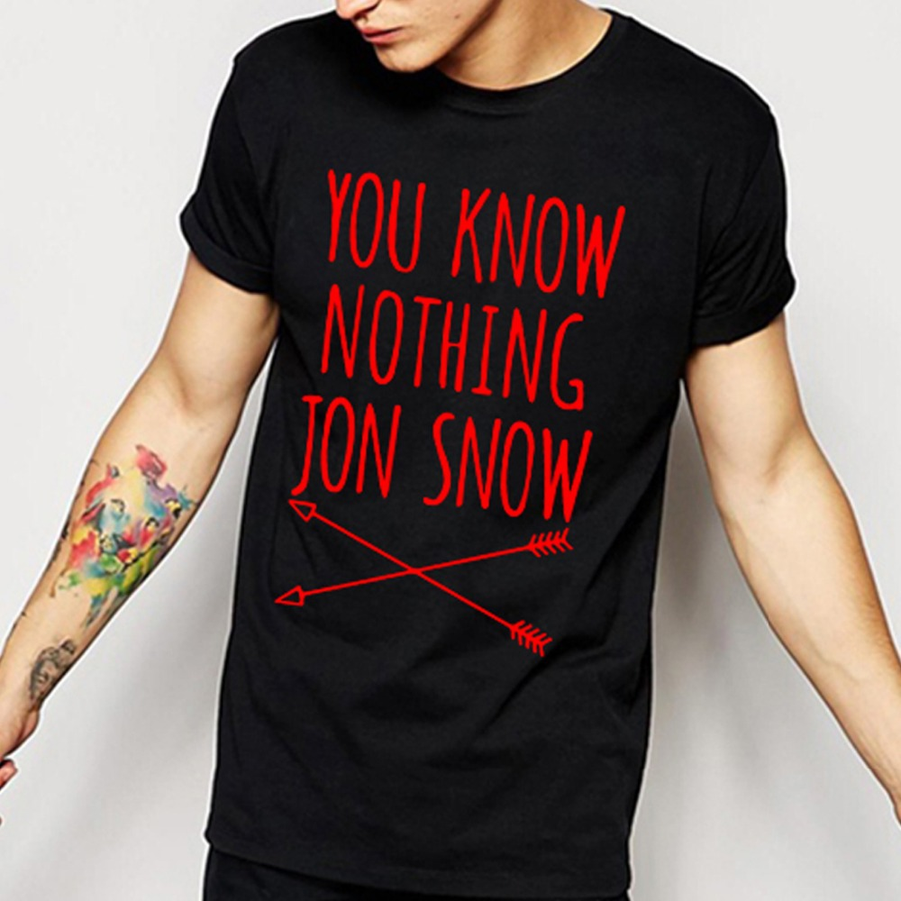 Játék Thrones T-shirt Téli jön tudni semmi TShirts MEN Jon Snow Print Férfi póló ház merev jó Cotton Man Tee