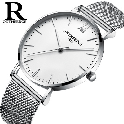 New Top Brand Luxury Mens Watches 30m waterproof Ultra-thin watch Men Stainless Steel Mesh Band Quartz Wrist Watch Hot Sale