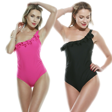 Ruffle One Shoulder Piece Swimsuit Women Sleeveless Trendy Fused Body Suit Solid Sexy Plus Size  Bikini USA