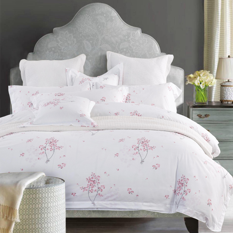 100% Cotton Luxury Hotel Bedding sets with Simple Print Twin Queen king size Double bed linen Duvet cover Set Cherry blossoms