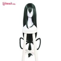 L email wig New 100cm/39.37inch My Hero Hero Academia Tsuyu Asui Cosplay Wigs Long Dark green Synthetic Hair Perucas Cosplay Wig