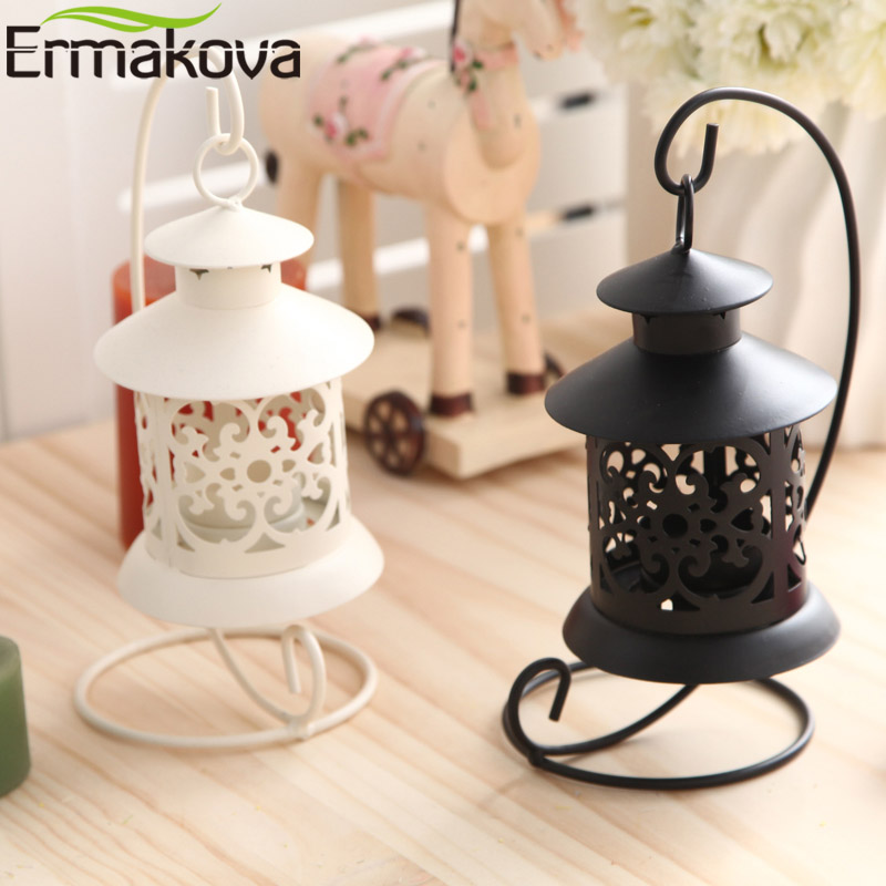 ERMAKOVA Candlestick Vintage Metal European Candle Holder Articles Hanging Lantern with Candle Stand Wedding Home Decoration