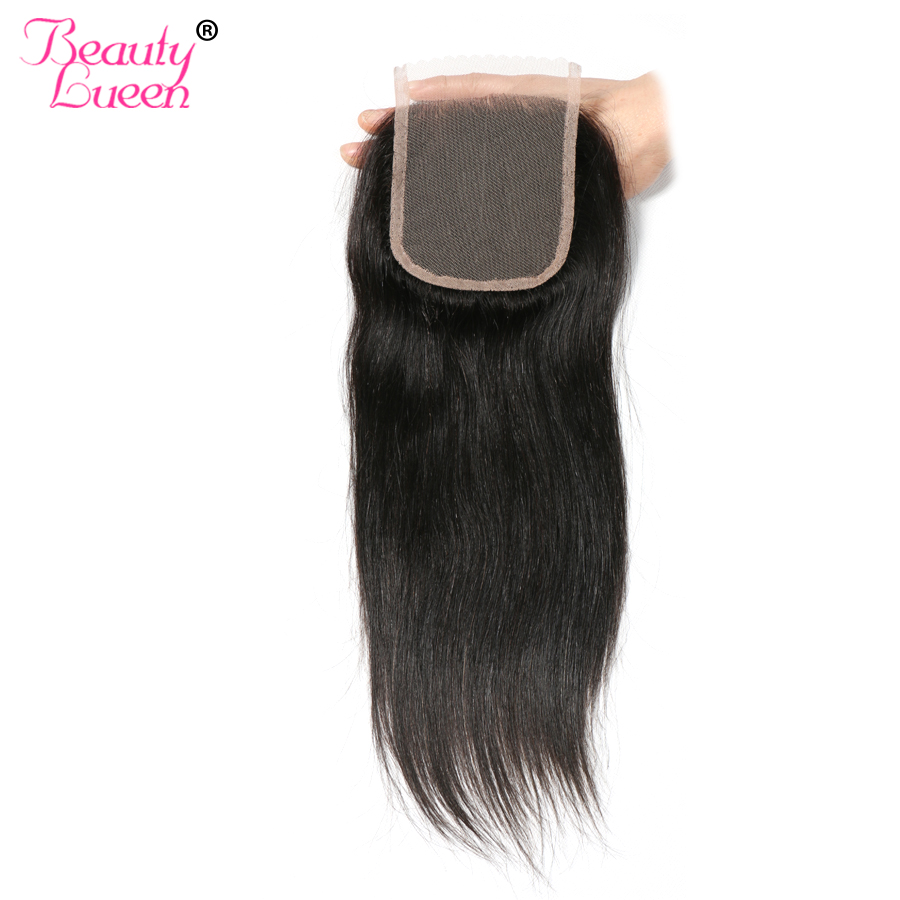 Brasilian Straight Lace Closure Free Part 4 * 4 Med Barnhår Medium Brun Lite Blå Knutar Mänsklig Swiss Lace Non Remy