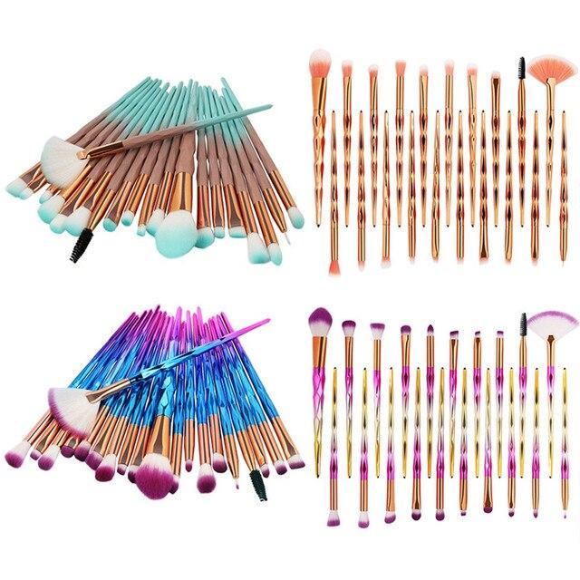 20 piezas maquillaje profesional de los cepillos conjunto Fundación ceja delineador de ojos maquillaje cosmético corrector cepillos caliente útil Fundación conjuntos