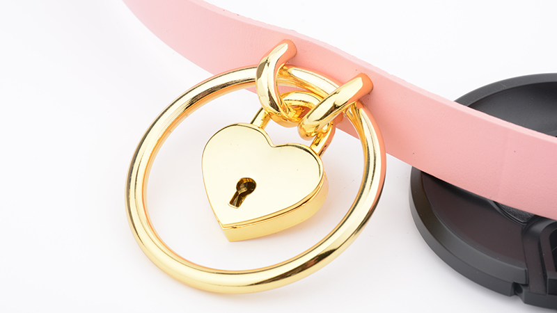 Punk Gothic Hand Crafted 100% Real Leather Choker 60mm O Round Gold Collar Kawaii Love Heart Necklace Women Lockable BDSM Choker 11
