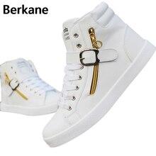PU Leather Punk Hip Hop Shoes Men White Solid Color Shoes Platform Flats Fashion Lace Zipper Man High Top Casual Zapatos Hombre