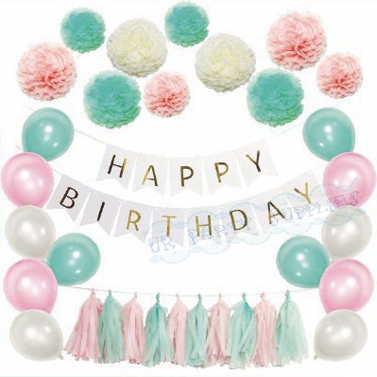 5 Sets Tiffany Blue Pink Birthday Decorations Gold Banner Tissue PomPoms Balloon Tassel Garland Baby Shower