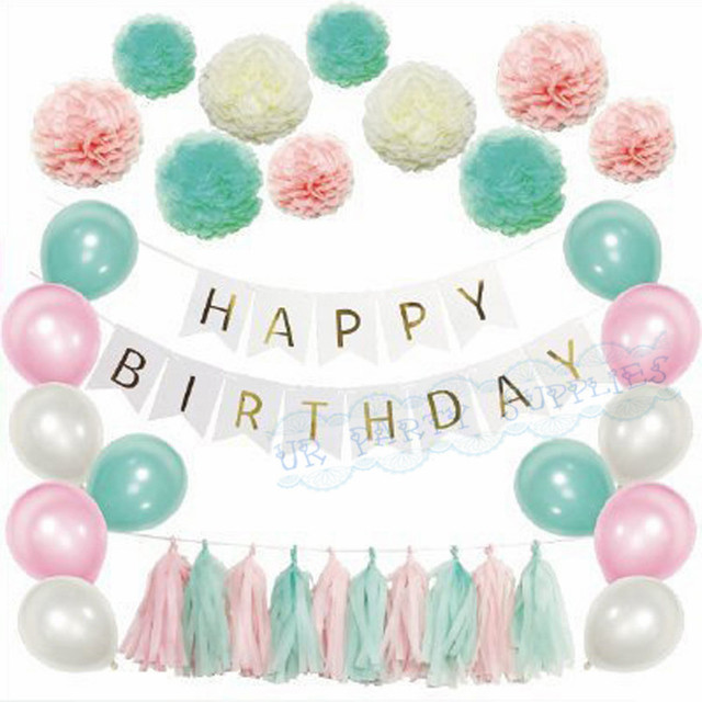 5 sets tiffany blue pink birthday decorations gold birthday banner