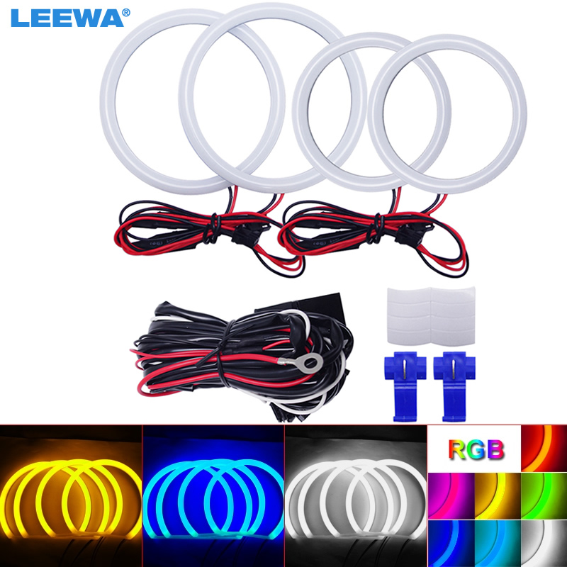 LEEWA 2X80mm 2X100mm Car Auto Halo Rings Cotton Lights SMD LED Angel Eyes for VW Magotan Running Light White/Blue/Yellow/RGB 80 mm 12v cob car led angel eyes halo rings with lampshade 63smd halo anneau colorful led headlights white yellow red blue light