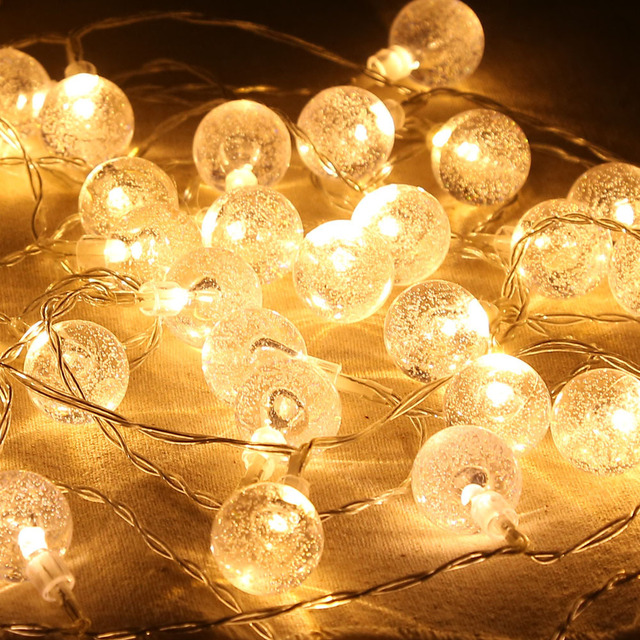 20 Led 220 Cm Bubble Crystal Ball Waterproof Globe String Lights Battery Operated Indoor Outdoor Decorative Fairy