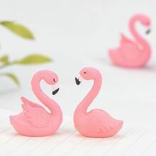 1 pçs flamingo animal bonsai carnudo ornamentos musgo micro paisagem decorativa jardim de fadas ornamento em miniatura presente decoração