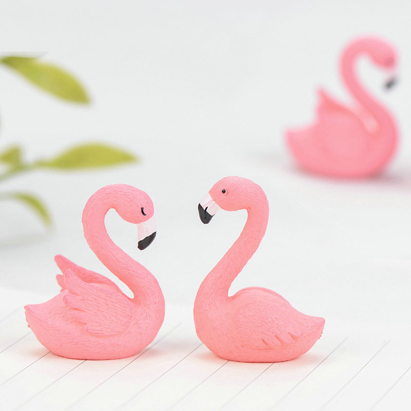 1 Pcs Flamingo Animal Bonsai Fleshy Ornaments Moss Micro Landscape Decorative Fairy Garden Miniature Ornament Gift Decoration