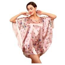 Women Fashion sexy Rayon faux silk satin Floral print round neck Half Bat sleeve mini nightdress nightgowns sleepshirts WT880182