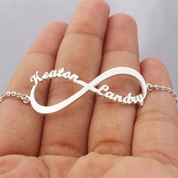 de80602d82b6 Nombre personalizado placa par de pulseras para las mujeres joyería de oro  infinito amor de acero regalo memoria de la amistad