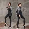 2018 mujeres Yoga Set manga larga Fitness transpirable cremallera chaqueta deporte Bra camiseta para correr para Yoga pantalones cortos 5 piezas Jogging Suit