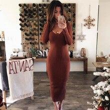 LOSSKY Autumn Winter Knitted Bodycon Maxi Dress Sexy Long Sleeve  Women Elegant Slim Fashion Thin Dresses 2019