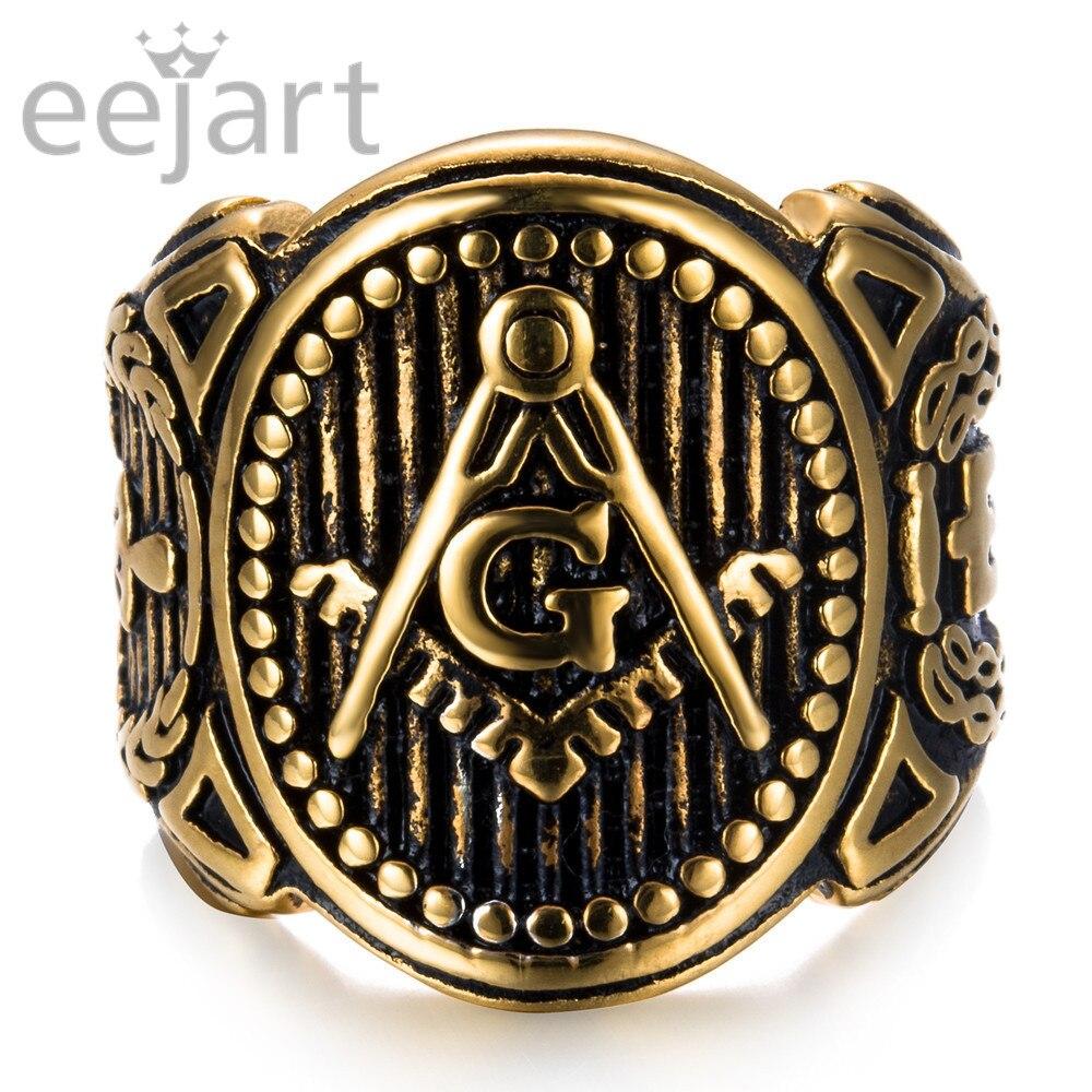 Retro Gold Co'lo'r Masonic Ring for Men