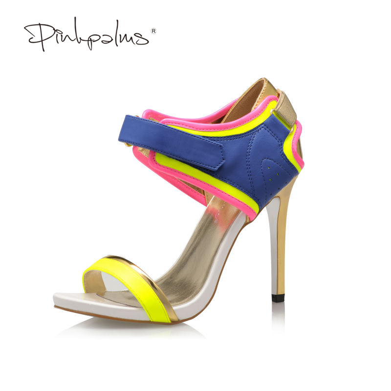 Pink Palms 2017 women summer shoes mixed colors peep toe thin high heels fashion summer sandals  sexy party wedding shoes pink palms women summer supper high heels shoes high platform sandals peep toe hollow out metal ring party punk sexy sandals