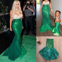 Princess Ladies Kids Girl Halloween Cosplay Costume Fancy Party Sequins Maxi Tail Long Green Skirt Adult