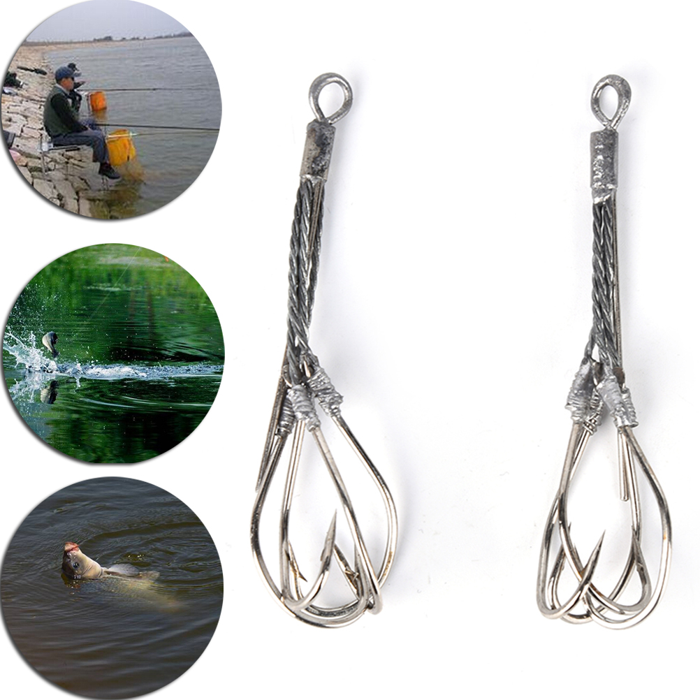 1PC Silver Fishing Hook High Carbon Steel Sharp Fishhooks Fishing Barbed Four-hook Fishing Barbed Hooks
