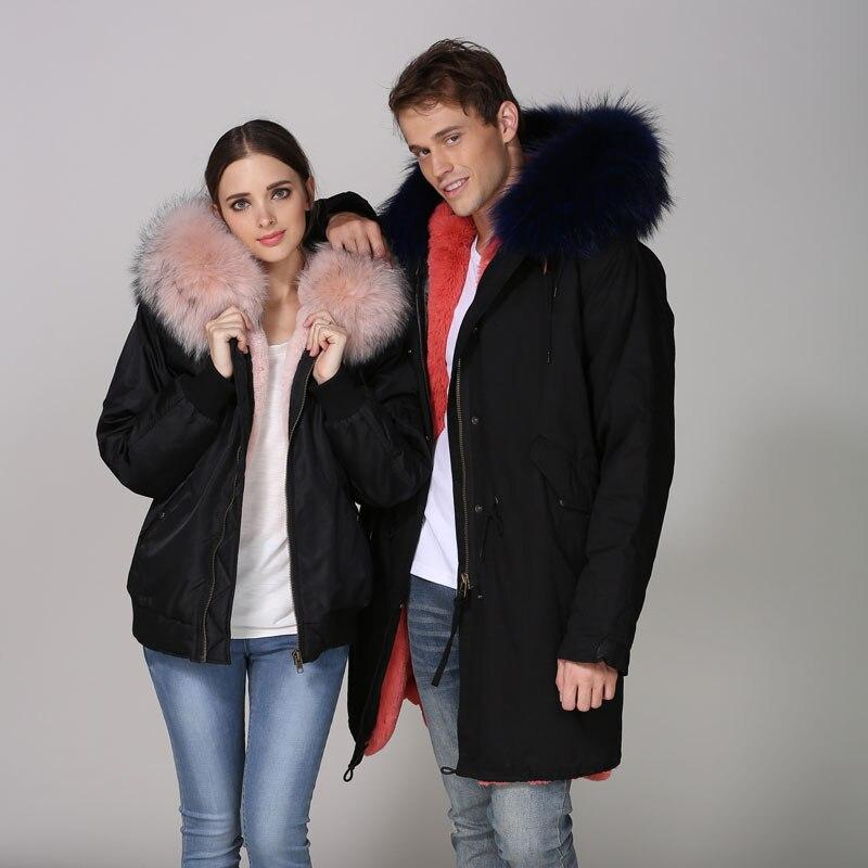 Bordée Noir coton Mhnkro De Vêtements Fourrure D'hiver Épaisseur Fourrures Bomber Parka Veste Haut Fausse Avec Col x0wqnpfdq