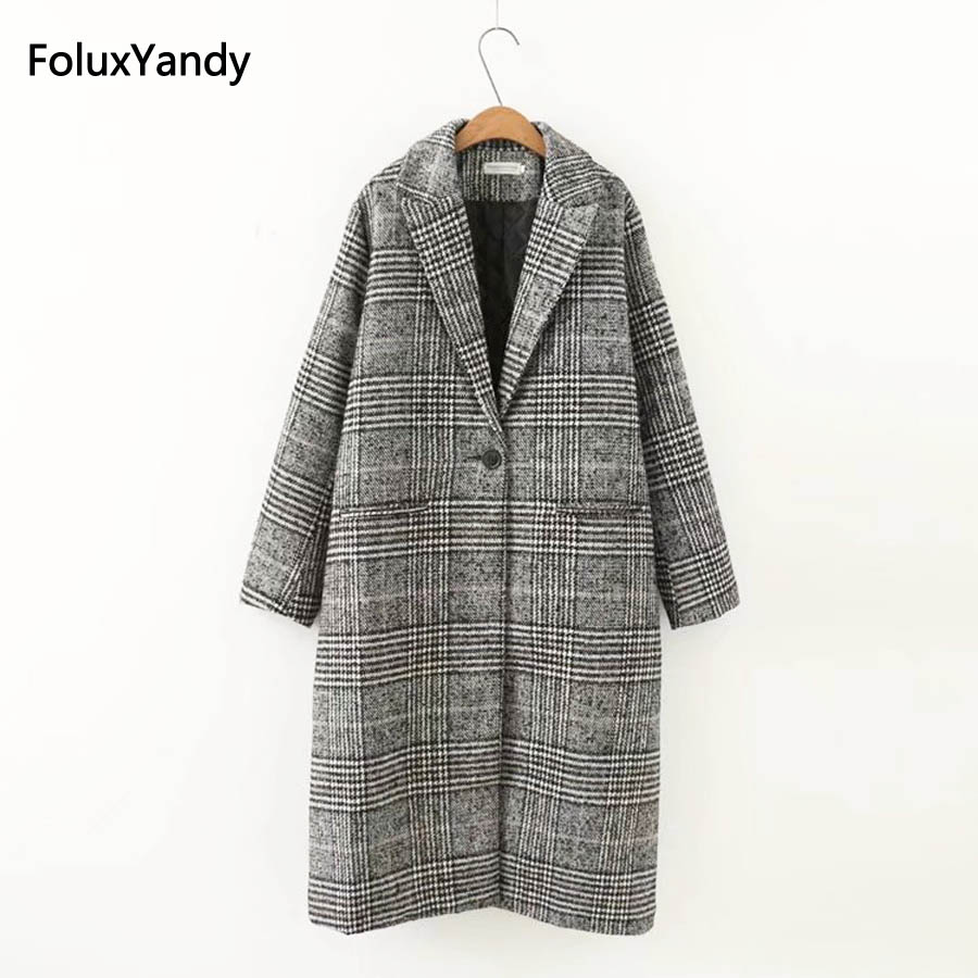 Single Breasted Wool Blends Women New Autumn Casual Plus Size 3 4 XL Loose Plaid Long