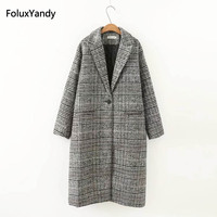 Single Breasted Wool Blends Women New Autumn Casual Plus Size 3 4 XL Loose Plaid Long Coats Outerwear KKFY640