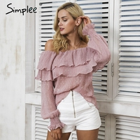 Simplee Off Shoulder Ruffle Blouse Shirt Women Tops Casual Chiffon Loose Pleated Long Sleeve Shirt Fashion