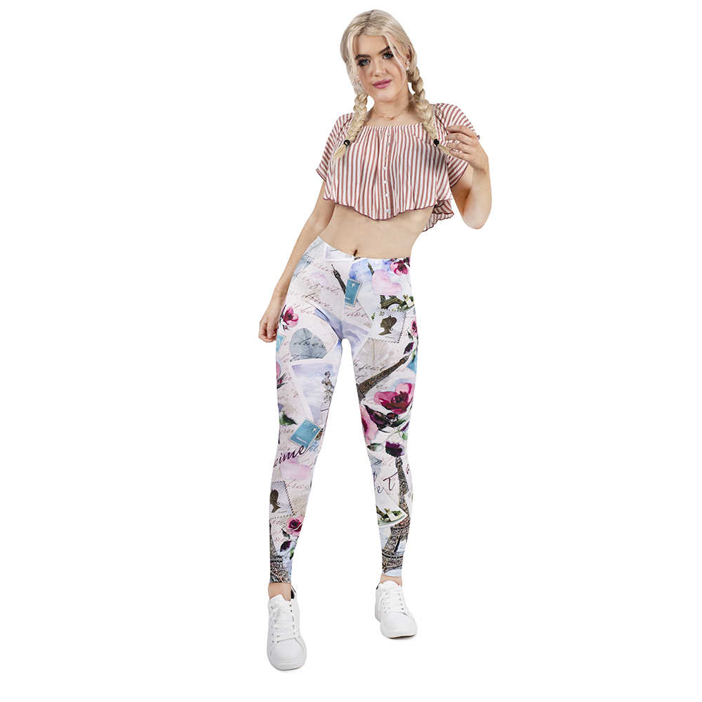 Kobiety Legging z paryża z miłością drukowanie leginsy Slim wysoka elastyczność Legging popularne fitness legginsy spodnie damskie