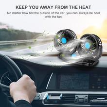 12 в 360 градусов Универсальный Регулируемый автомобильный воздушный охлаждающий вентилятор с двумя головками малошумный автомобильный Авт...