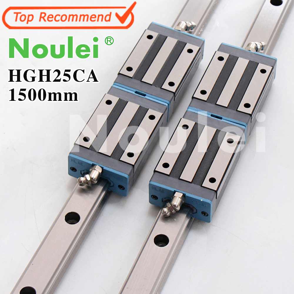 Noulei HGH25CA linear guide blocks with 25mm rail HG25 1500mm for cnc parts set High quality SELF-OWNED BRAND tbi cnc sets tbimotion tr20n 600mm linear guide rail with trh20fl slide blocks stainless steel high efficiency