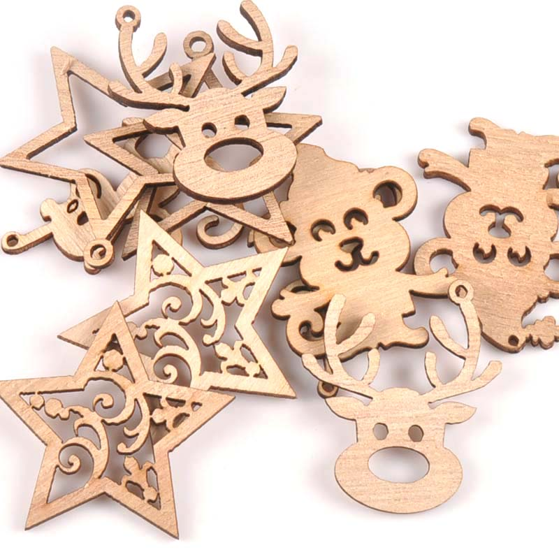 Natural Mix Christmas Reindeer/star/monkey Wooden Ornament For Home Decoration Wood Slices DIY Carft Arts Handicraft 10pcs M1853