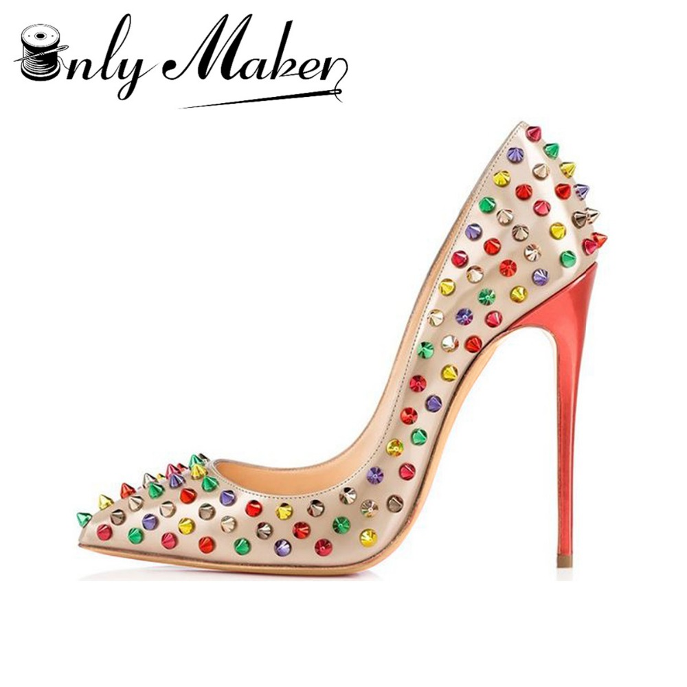Onlymaker brand high quality women's pumps wedding shoes gemstone decoration multi color spike glitter bling shiny heels Size 14