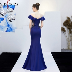 Image 2 - YIDINGZS See through Appliques Beaded Long Evening Dress Off the Shoulder Elegant Evening Party Dress YD16288