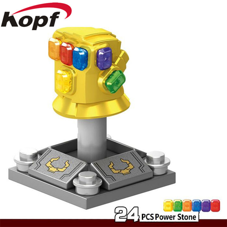 Super Heroes Single Sale Infinity Gauntlet With 24pcs Power Stones Thanos Gloves Vision Building Blocks Toys for children 1099-1