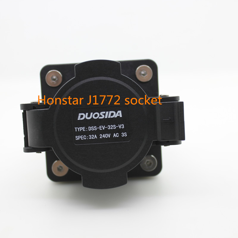 Duosida ZENCAR EVSE EV female socket SAE J1772 type 16A 32A electric Charging charger side sae j1772 type 1 female plug to type 1 male socket 32a with 2m black cable ev charging connectors ev charger adapter