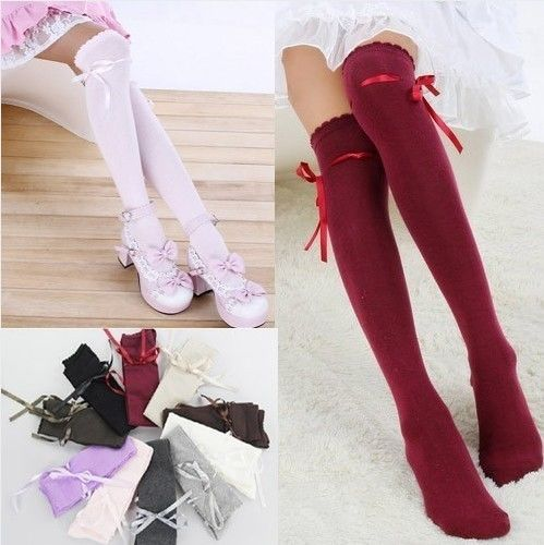 dcdf67340756b Japanese Style Girls Sweet Lolita School Girl uniform bowknot Over The Knee  Socks Stockings for women maid stocking cosplay-in Stockings from Underwear  ...